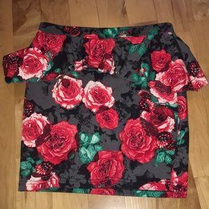 Rose printed peplum miniskirt